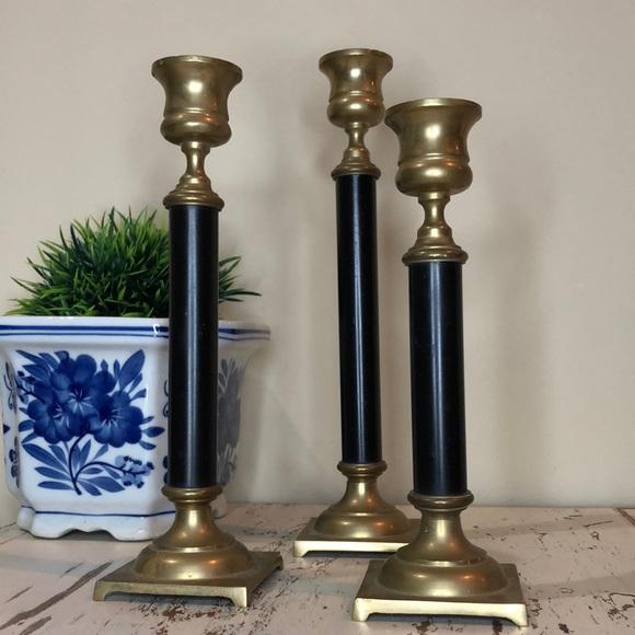 Set of 3 Vintage Brass Black Candlesticks